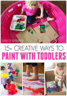 Here are 15 Creative Ways to Paint with Toddlers! These are simple require only a few materials and are a great way for parents to connect with their toddler. Many are also great for preschoolers too! Toddler Art, Toddler Preschool, Toddler Crafts, Toddler Games, Baby Crafts, Painting For Kids, Art For Kids, Art With Toddlers, Painting With Toddlers