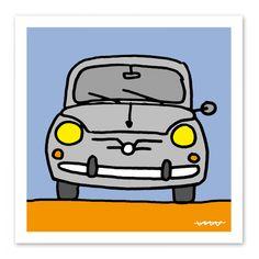 <p>Lámina con dibujo de un seiscientos.</p> Fiat 600, Charlie Brown, Bart Simpson, Vintage Posters, Drawings, Fictional Characters, Bb, Classic, Interior