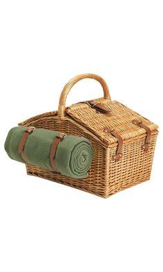 Picnic basket + blanket.  #picnic basket #basket #wicker basket