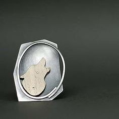 Woolf Brooch Silver/Wood by AnnaSlezakJewellery on Etsy, Cufflinks, Brooch, Trending Outfits, My Favorite Things, Unique Jewelry, Handmade Gifts, Wood, Silver, Jewellery