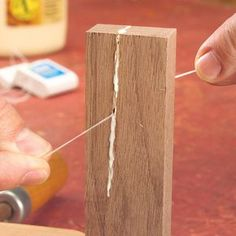 Woodworking Designs It's easy to coat narrow crevices with glue when you're repairing a cracked board or tenon on a project. Pour glue on a scrap of wood and drag the floss. Learn Woodworking, Woodworking Techniques, Easy Woodworking Projects, Popular Woodworking, Diy Wood Projects, Woodworking Plans, Wood Crafts, Woodworking Furniture, Youtube Woodworking