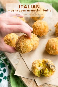 These little golden rice balls make a fantastic Italian appetizer to share. Crispy mushroom arancini are perfect for welcoming guests at your next party. #italian #vegetarian #riceballs