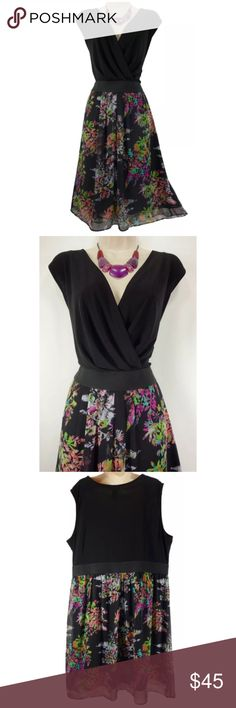 """20 2X SEXY BLACK TOP/FLORAL BOTTOM DRESS Plus Size We love this sexy, gorgeous dress for a very special occasion ~ Size: 20 Left side zip Surplice neckline Elastic waistband  Floral, chiffon skirt (fully lined) Measurements: Bust (armpit to armpit):  47"""" relaxed - stretches to 57"""" Waist: 40"""" relaxed - stretches to 48"""" Hips:  51"""" relaxed Length: 40.5"""" (top of shoulder to bottom hem)  Condition:  PRISTINE CONDITION!   Fabric Content: Polyester/Spandex   Fabric Care: Machine Wash Lane Bryant…"""