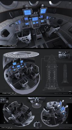 Cyrano flight deck is part of Spaceship interior - kars artwork Cyrano flight deck