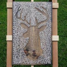 String Art Deer Silhouette in Reverse Style on Dark Stained Wood. String Art Deer Silhouette in Reverse Style on Dark Stained Wood. Crafts To Do, Hobbies And Crafts, Wood Crafts, Arts And Crafts, Hirsch Silhouette, Deer Silhouette, Wood Pallet Art, Wood Art, Diy Wall Art