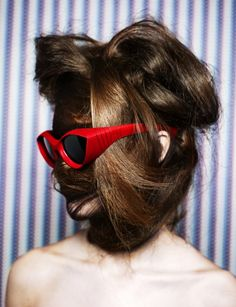 Hair stylist Teiji transforms models into hair monsters to show off PQ eyewear. S)