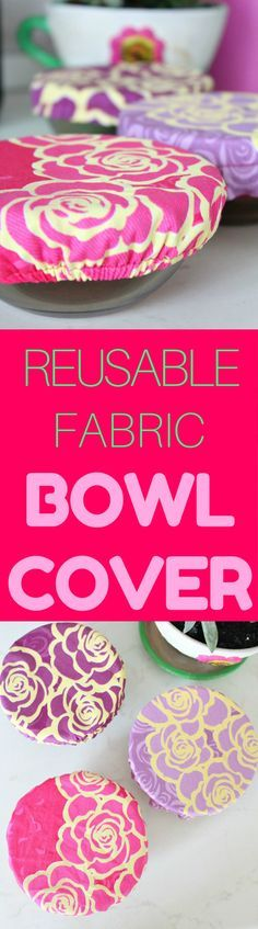 REUSABLE FABRIC BOWL COVERS - Create a personalized fabric bowl cover so that you can tote your side dishes to potlucks and barbecues in style! Make your own customized fabric covers with this easy and quick reusable bowl covers tutorial!  #sewing #sewingproject #beginnersewing #sewingforbeginners #sewingmachine #DIY #Home