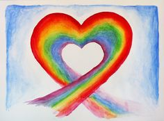 Watercolor Rainbow Heart Note Cards (Pk of Compassion Quotes, Rainbow Images, Affirmations Positives, Kids Canvas, Rainbow Painting, Louise Hay, Heart Images, Rainbow Heart, Arte Pop