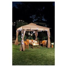 This simple and modern Garden Gazebo 3 offers of usable space and offers an open airy feel. The outdoor gazebo is quick and easy to assemble and features a polyester canopy and matching full side curtains with insect screens. Room Furniture Design, Acme Furniture, Outdoor Furniture, Outdoor Gazebos, Outdoor Structures, Metal Gazebo Kits, Jamie Durie, Gazebo Sale, Romantic Date Night Ideas
