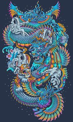 New Space Found by bogielicious on DeviantArt Japanese Dragon Tattoos, Japanese Tattoo Art, Dragon Illustration, Psychadelic Art, Japanese Artwork, Dragon Artwork, Samurai Art, Japan Art, Fantasy Art