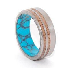 Turquoise and Wood Ring | Minter & Richter Titanium Rings #uniqueweddingrings #titaniumring #weddingring
