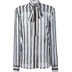 Haider Ackermann striped pussy bow shirt Julian Fashion (9,560 CNY) ❤ liked on Polyvore featuring tops, shirts, haider ackermann, stripe shirt, striped shirt, striped top and shirts & tops