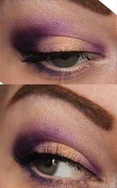 peach and purple makeup, maybe more of a caramel instead of peach and defiantly add some black winged liner