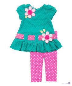 Rare Editions Little Girls' Teal Textured Knit Top & Bright Pink Dot Leggings Set The clothing culture is quite … Baby Dress Design, Baby Girl Dress Patterns, Kids Outfits Girls, Little Girl Dresses, Toddler Outfits, Girl Outfits, Baby Dresses, Dress Girl, Toddler Fashion