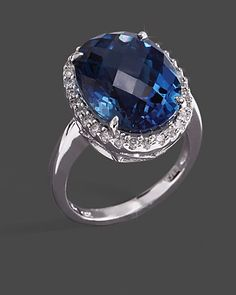 Diamond & London Blue Topaz Ring In 14K White Gold
