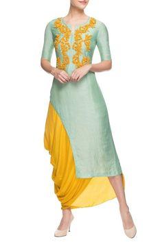 Buy Yellow cowl draped skirt with kurta by Aneehka by Anika Churiwala at Aza Fashions Kurti Designs Party Wear, Kurta Designs, Blouse Designs, Indian Designer Outfits, Designer Dresses, Indian Dresses, Indian Outfits, Designer Kurtis, Draped Skirt