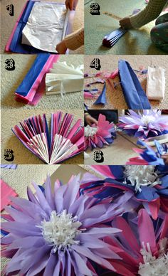 Making giant paper tissue flowers