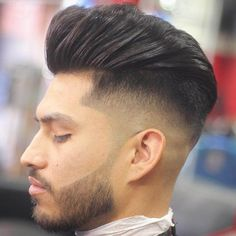 Side Shaved Fade + Pompadour - Best Shaved Sides Haircuts For Men: Cool Shaved Sides with Short, Medium and Long Hairstyles Shaved Side Hairstyles Men, Mohawk Hairstyles Men, Cool Mens Haircuts, Cool Hairstyles For Men, Different Hairstyles, Boy Haircuts, Slicked Back Hair, Shaved Sides, Crew Cuts