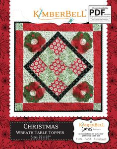 Christmas Wreath Table Topper   Quilting Pattern   YouCanMakeThis.com
