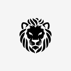 Black And White Lion, Animals Black And White, Black And White Cartoon, Black And White Background, Lion Vector, Cat Vector, Vector File, Lion Icon, Zoo Logo