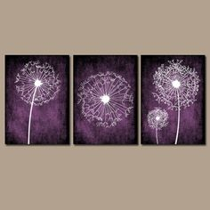 DANDELION Wall Art Purple Bedroom Canvas Or Prints Bathroom Wall Art  Bedroom Pictures Flower Wall Art