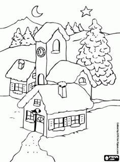 desenho de Paisagem da pequena aldeia de montanha, com a lua e a estrela de Natal para colorir
