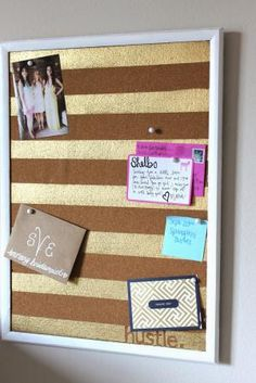 Transform 24 ordinary objects into gorgeous home accessories with just a can of gold spray paint.: Cork Board