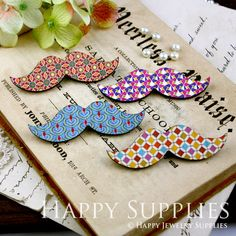 Large Handmade Colorful Moustache Charms Pendants For Jewelry Making Supplies