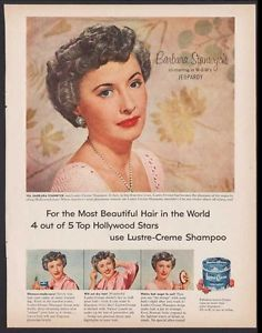 """1953 BARBARA STANWYCK IN MOVIE """"JEOPARDY""""-AD FOR LUSTRE-CREME SHAMPOO +Peter Pan"""