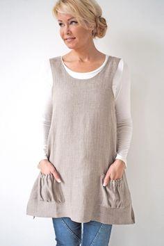 BASIC Linen Tunic, NATURAL - BYPIAS Linen Dresses, Tunics - BYPIAS