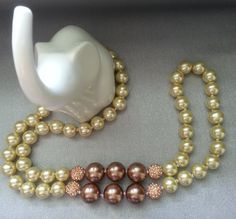 Yellow/Gold with Bronze Glass Pearl Long Knotted Necklace by SparklingYouDesigns on Etsy
