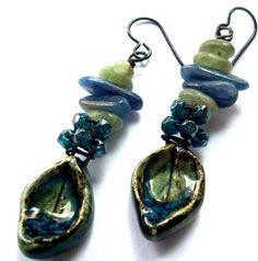 Handmade Scorched Earth Ceramic Leaves, Blue Green Turquoise Black, Blue & Green Kyanite, Black Niobium Ear Wires Dangle Earrings
