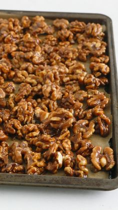 5 minute caramel walnuts are chewy, crisp, salty and not-too-sweet ! Highly addictive candied walnuts are perfect for snacking / holiday gift giving. Walnut Recipes, Pecan Recipes, Candy Recipes, Sweet Recipes, Holiday Recipes, Appetizer Recipes, Snack Recipes, Dessert Recipes, Cooking Recipes