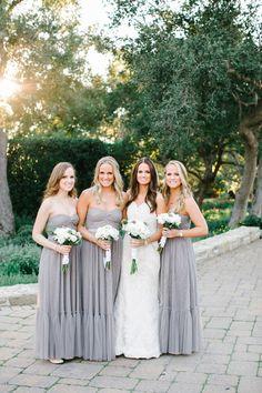 gray strapless bride
