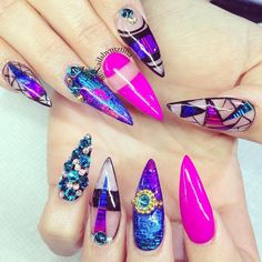 Ideas For Nails Stiletto Purple Blue Fabulous Nails, Gorgeous Nails, Pretty Nails, Nail Candy, Dope Nails, Fun Nails, Pretty Nail Designs, Nail Art Designs, Sassy Nails