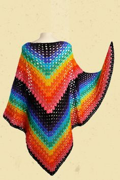 Talulabelle shawl rainbow colors