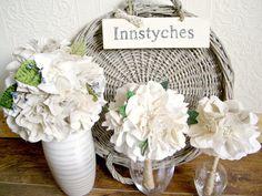 Junior bridesmaid bouquet, Rustic weddings, Custom fabric bouquet, Fabric flowers, Cotton magnolias. £30.00, via Etsy.