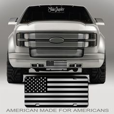 New Custom Ford US American Flag Tactical Black And White Vanity License Plate