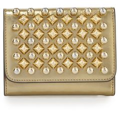 Christian Louboutin Macaron Mini Spikes Wallet ($490) ❤ liked on Polyvore featuring bags, wallets, gold, handbags wallets, flap wallet, christian louboutin wallet, brown bag, flap bags and christian louboutin bag