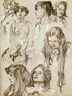 sketches by Alphonse Mucha