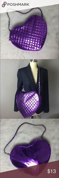 "Purple Heart Handbag 💜 Cute handbag with a quilted purple exterior, single zip & 15"" strap drop. Strap is silver metal threaded with purple material. Can be used as shoulder and / or cross body bag. Very roomy! Excellent condition! 💜 Bags Shoulder Bags"