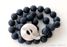 Volcanic Necklace Lava Rock and Silver Santorini by SunSan on Etsy, @sun San @piscesandfishes