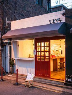상가주택 리모델링, 망원동 빙수집 인테리어, white & red color interior design Canvas Awnings, Fabric Awning, Coffee Shop Design, Cafe Shop, Pink Houses, Cafe Interior, Store Fronts, Windows And Doors, Exterior Design