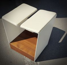 Chair design for exterior use - inspired by the lap of figurative sculpturws - white painted stainless steel structure with teak box that hides the wheels. A little interesting shape that gives your terrace table some personality Chair Design, Furniture Design, Steel Structure, White Paints, Figurative, Teak, Terrace, Personality, Stool