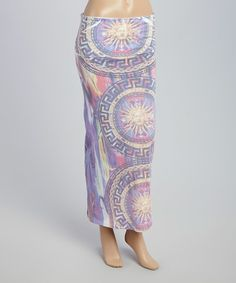 Another great find on #zulily! Pink & Purple Sun Face Fold-Over Maxi Skirt #zulilyfinds