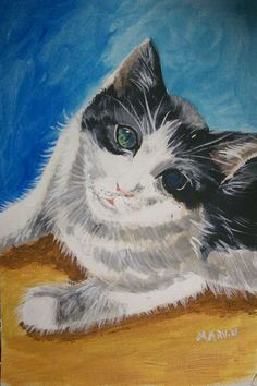 This is a painting of a cat created on canvas paper using acrylics. It is a 5 X 9 inch painting and will arrive backed with foam board and wrapped in cellophane for protection. Original Paintings For Sale, Original Artwork, Black And White Tuxedo, Canvas Paper, The Originals, My Love, Christmas, Etsy, Xmas