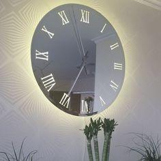 Wall Clock Light, Mirror Wall Clock, Wall Clock Design, Wall Clocks, Looks Vintage, Style Vintage, Backlit Mirror, Mirror Ornaments, Lighting Uk