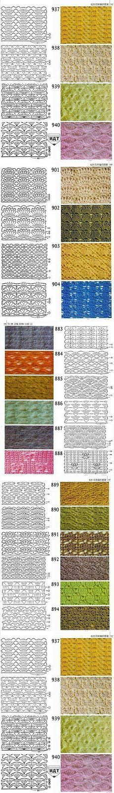 Baby Knitting Patterns Techniques Patterns in the piggy bank (crochet) - Country Mom Crochet Pouf Pattern, Crochet Motif Patterns, Crochet Symbols, Crochet Flower Tutorial, Baby Afghan Crochet, Granny Square Crochet Pattern, Crochet Diagram, Crochet Chart, Stitch Patterns