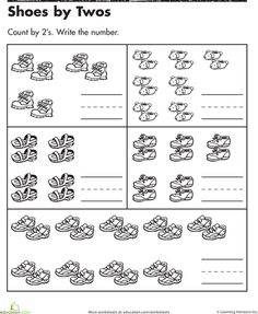 Shoes by Twos | Worksheet | Education.com