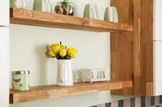 Image result for oak floating shelf end of kitchen cabinets